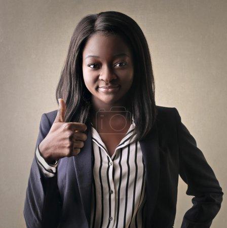 Happy black businesswoman