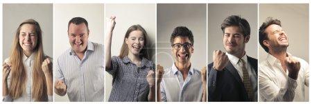 Photo pour Heureux portraits de personnes jubilatoires - image libre de droit