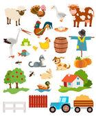 set of farming live animals birds objects farmhouse tress s
