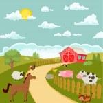 Cartoon farm with cute animals. vector illustratio...