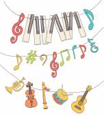 cute musical signs notes piano keys children instruments hang