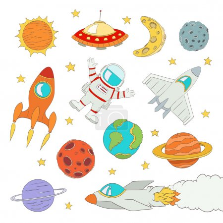 set of cute outer space elements, astronaut, planets, rockets. v