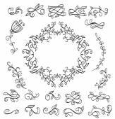 Sada prvků květinovým vzorem. Doodle věnce. vektor
