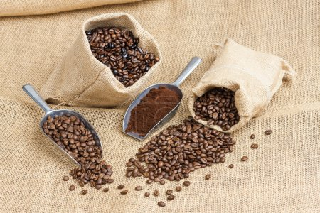 still life of coffee beans in jute bags