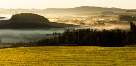 Photo for Autumnal landscape in fog, Sumava, Czech Republic - Royalty Free Image