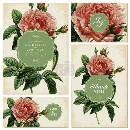 Vintage Rose Wedding Invitation Set