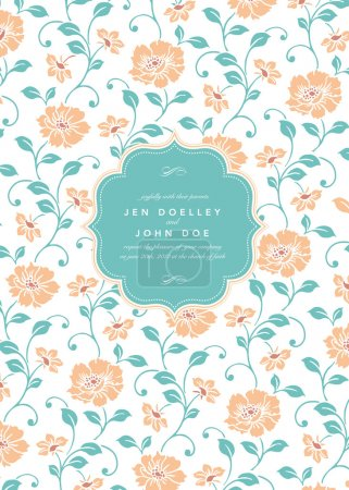 Illustration for Wedding invitation template. Vector Classic Flower Pattern and Frame. - Royalty Free Image