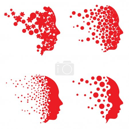 Illustration for Vector face and head graphics with dot patterns. Easy to edit. - Royalty Free Image