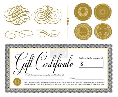 Vector Gift Certificate and Seal Set