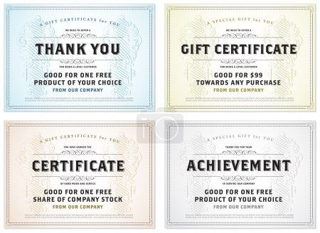 Vector set of retro gift certificates