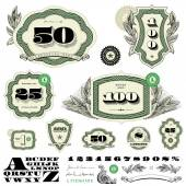 Vector money badges and financial frames with leaf decorations