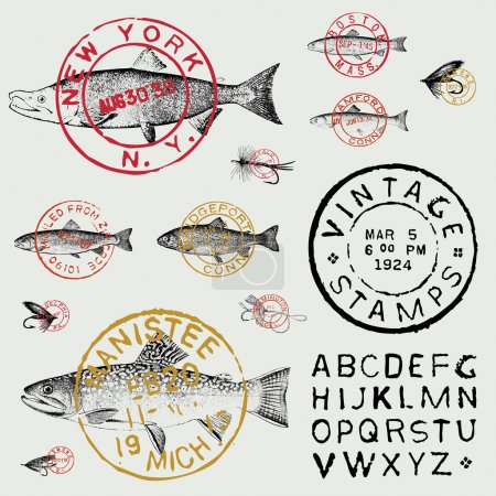 Vector Retro Fish Stamp and Label Set