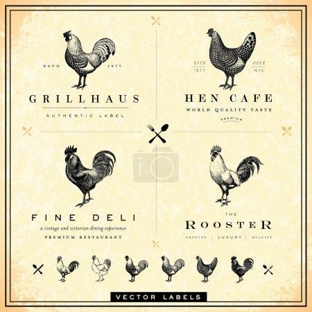 Illustration pour Facile à éditer ! Ensemble restaurant et logo poulet. Idéal pour les restaurants, cafés, ou tout logo ou étiquette vintage - image libre de droit