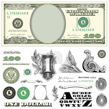 one dollar bill vector set