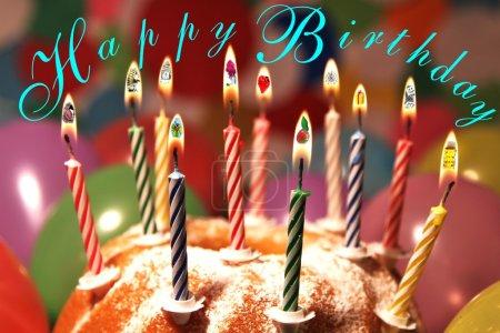 Happy Birthday - Symbole - deutsch - Schriftzug