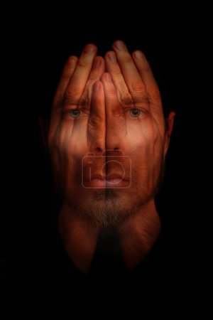 Photo for Insomnia conceptual image - sleepless man with hands over open eyes - Royalty Free Image