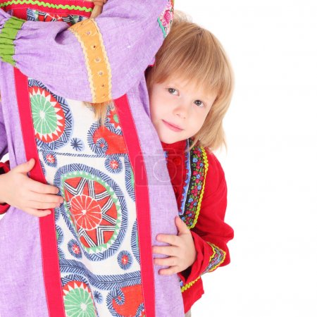 Girl and boy in russian folk clothes