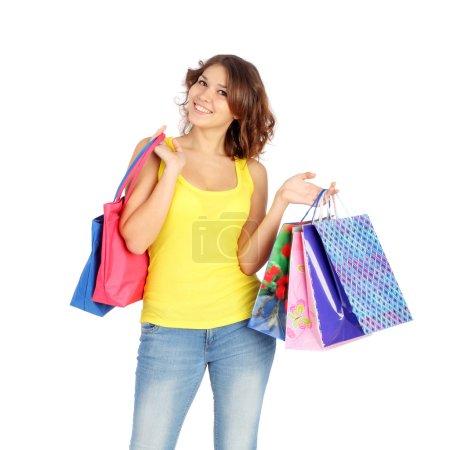 Beautiful young girl shopping