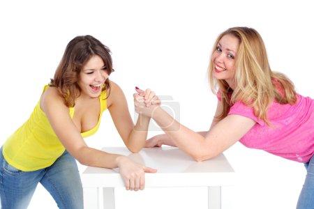Beautiful girls arm wrestling