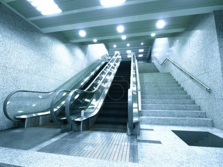 Photo for Escalator and stair in underground - Royalty Free Image