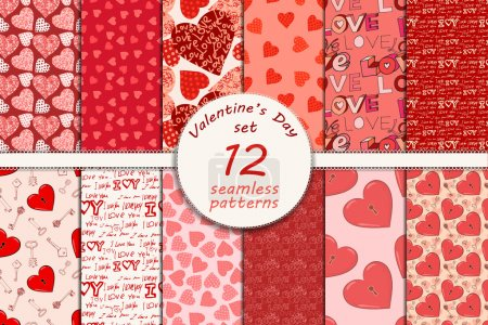 Illustration pour Grand ensemble de motifs de Saint-Valentin sans couture, eps 10 - image libre de droit