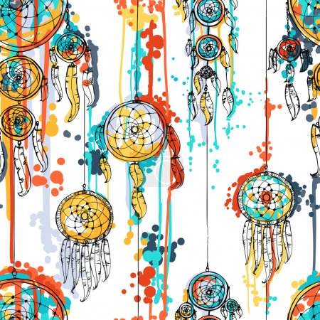 Illustration for Seamless vector illustration with dream catchers. Vector illustration - Royalty Free Image