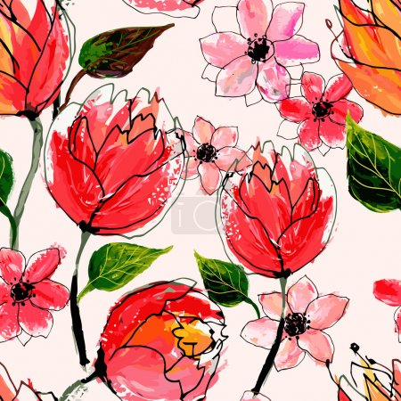 Illustration for Seamless floral pattern. Vector watercolor hand drawn illustration. - Royalty Free Image