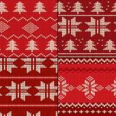 Set of four Christmas Seamless Knitting Patterns vector illustration