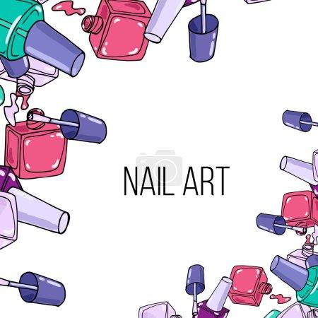 Ilustración de Botellas de laca de uñas abiertas sobre fondo blanco. Frontera de la belleza y el lugar para el texto - Imagen libre de derechos