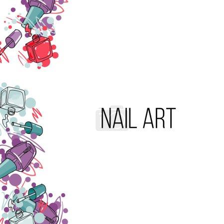 Ilustración de Botellas de laca de uñas de vector. Frontera vertical belleza y lugar para el texto - Imagen libre de derechos