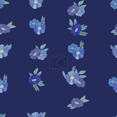 Illustration for Seamless vector pattern with flowers on dark blue background - Royalty Free Image