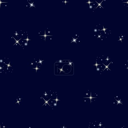 Illustration for Starry sky. Seamless pattern with stars on dark blue background - Royalty Free Image