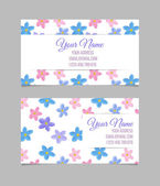 Floral card template with blue pink and violet forget-me-not flowers on white background