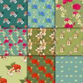 Seamless floral pattern set with peonies