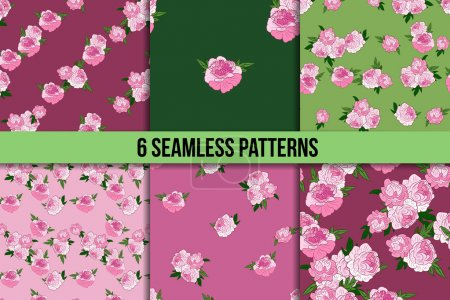 Illustration for Six seamless patterns with pink peonies on green and pink backgrounds - Royalty Free Image