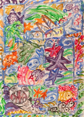 Photo pour Peinture acrylique abstraite monde sous-marin . - image libre de droit