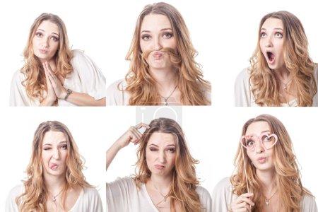 Photo pour Collage de femmes différentes expressions faciales, émotions et émoticônes - image libre de droit