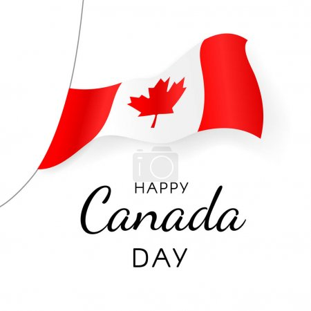 Illustration for Happy Canada Day greeting card. Canada flag flutters in the wind over beautiful inscription isolated on white background. Traditional National Celebration of Canada. Vector illustration - Royalty Free Image