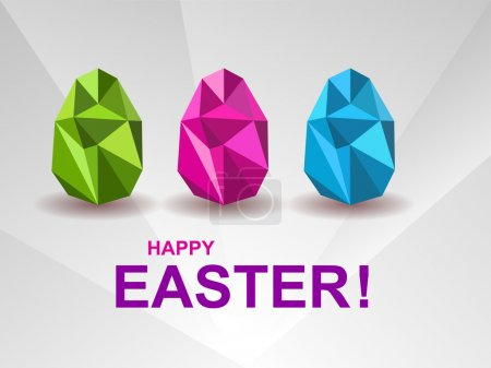 Holiday background with crystal Easter eggs.