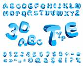 Cartoon alphabet of three-dimensional letters of different orientation in space