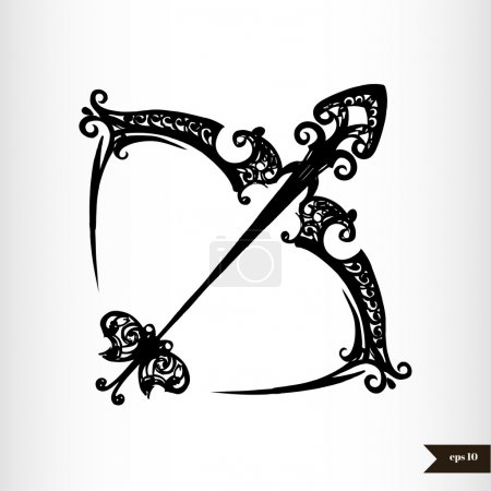 Zodiac signs black and white - Sagittarius