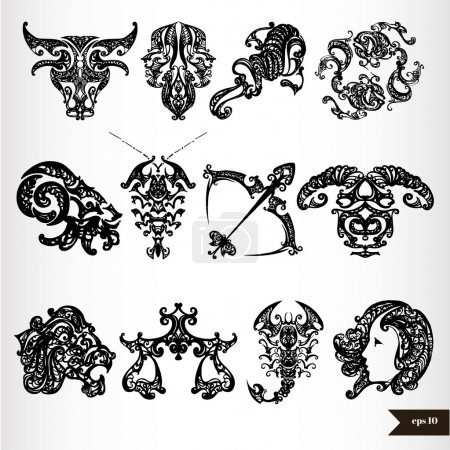 Illustration for Black zodiac horoscope signs. Vector illustration - Royalty Free Image