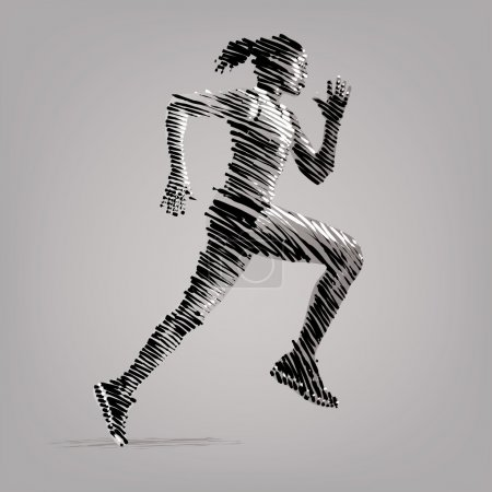 Illustration for Running woman. Vector artwork in the style of ink drawing - Royalty Free Image