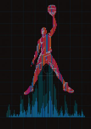 Concept of a basketball player and digital equalizer.