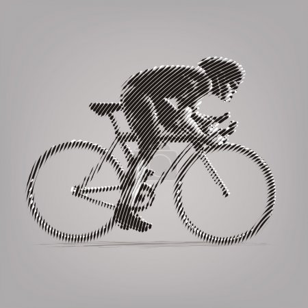 Cycling race. Vector artwork in the style of ink drawing