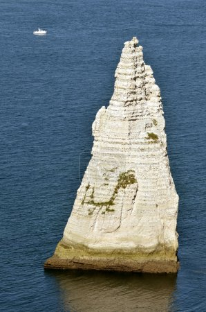 Famous cliffs and pointed Needle of Etretat in France