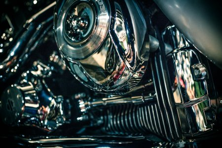 Close up view of a shiny motorcycle engine. Macro