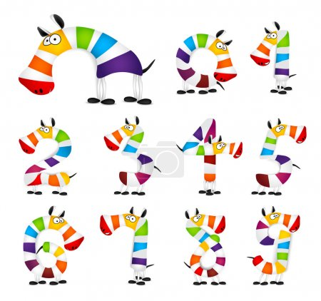 Illustration for Collection of Numbers. Made of colorful animal cartoon rainbow zebra. Vector illustration - Royalty Free Image