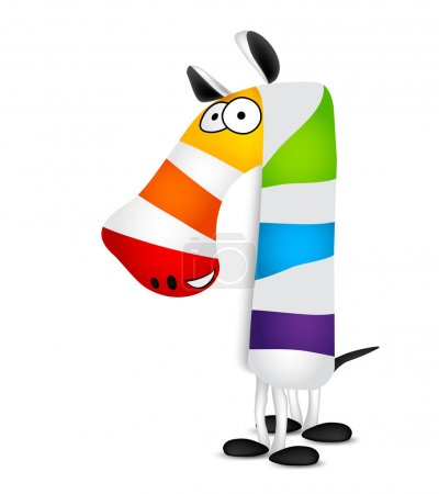 Number one. Made of colorful animal cartoon rainbow zebra. Vector