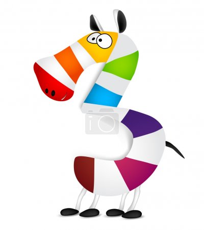 Number three. Made of colorful animal cartoon rainbow zebra. Vector